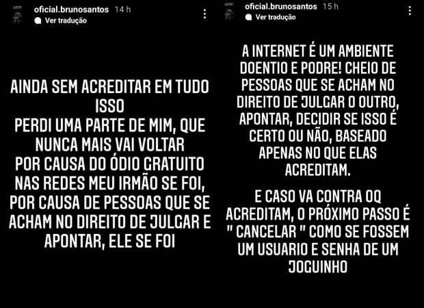 Trecho de mensagem publicada por Bruno Santos