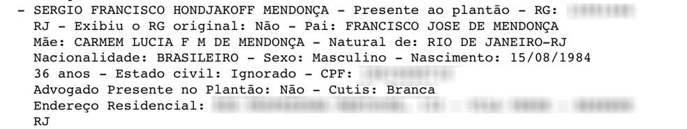 Nome do ator consta no Boletim de Ocorrência | FOTO: Reprodução/G1
