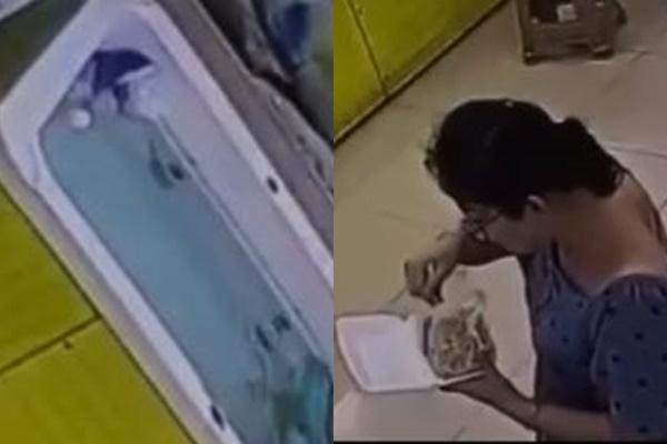 Imagem mostra criança se afogando em piscina enquanto responsável almoça ao lado