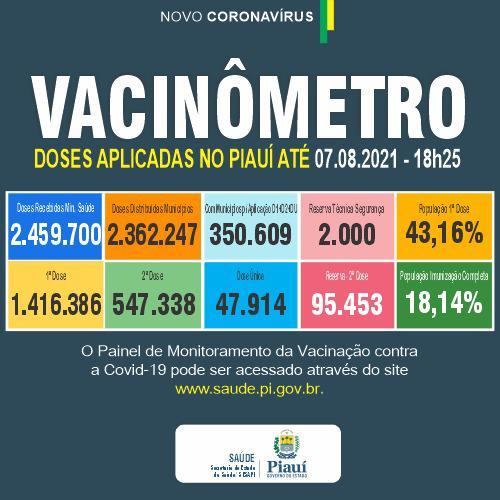 Sesapi: quase 20% da população piauiense está imunizada contra Covid-19 (Foto: Divulgação)