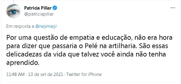 Patrícia Pillar rebate ironia de Neymar no Twitter
