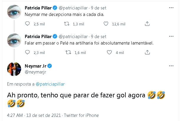 Neymar e Patrícia Pilla trocam farpas no Twitter