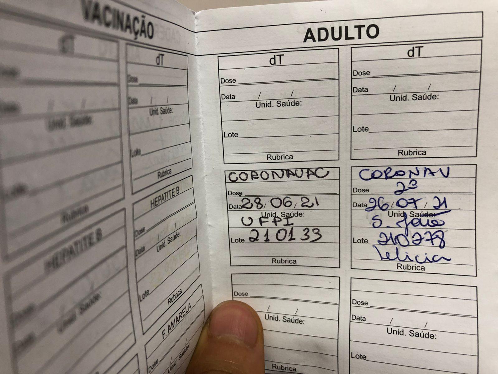 Comprovante de Vacinação - Foto: Ascom