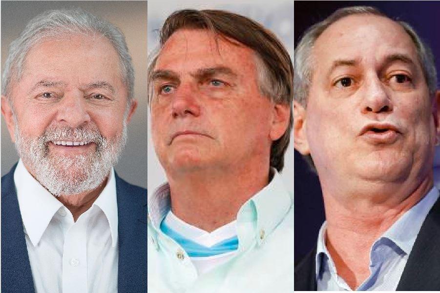 Lula, Bolsonaro e Ciro são os destaques da pesquisa (Foto: Montagem MN)