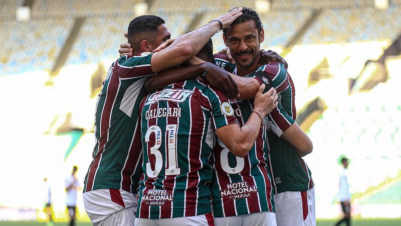 Fluminense comemora resultado diante do Bragantino (Lucas Merçon / Fluminense)