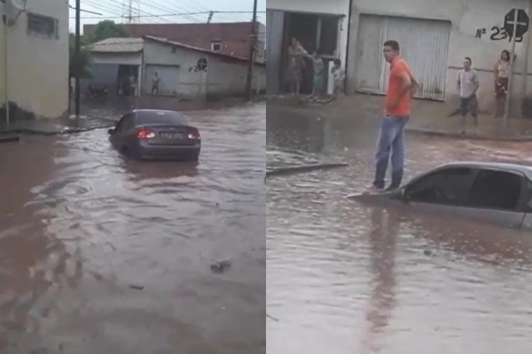 Motorista fica com carro quase submerso durante chuva em Teresina (Foto: Redes Sociais)