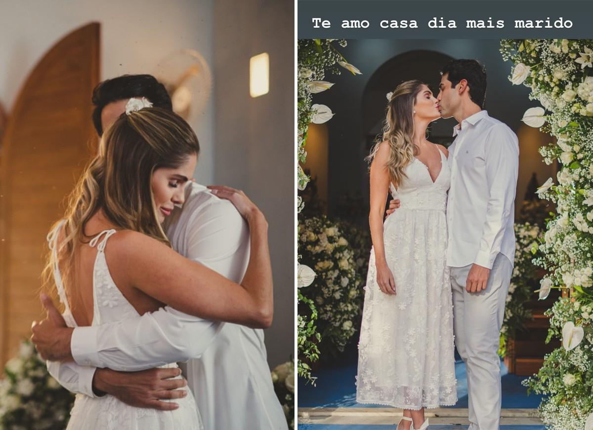 A modelo é casada com Gustavo Theodoro e está de sete semanas.