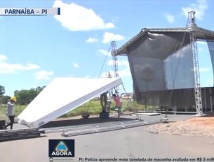 Estrutura é montada para receber o presidente Bolsonaro em Parnaíba